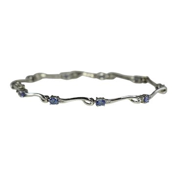14k Tanzanite Bracelet in White Gold 1.35 ctw with Diamond Accents