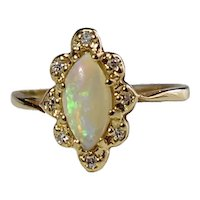 14k Gold Opal Diamond Halo Ring .73 ctw Fiery Natural Opal