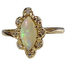 14k Gold Opal Diamond Halo Ring .73 ctw Fiery Natural Opal