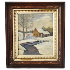 Victorian Era Deep Walnut Gilt Frame Oil Painting Landscape on Board Grain Painted