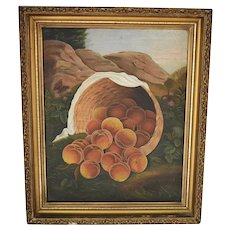 Folk Art Oil Painting Still Life Peaches Basket Mountain Landscape Butterfly Gesso Gilt Frame
