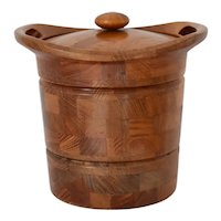 Danish Modern ESR Teak Staved Ice Bucket Mid Century