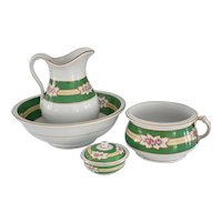 Ironstone Wash Set 4 pc Pink Roses Green Border Pitcher Basin Chamber Pot Soap Dish