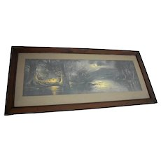 Yard Long Print William Henry Chandler Campers Paradise 43.5 in Framed