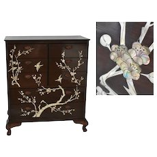 Vintage Chinese Export Rosewood Lacquered Mother of Pearl Inlay Dresser Chest Ming Tree & Birds