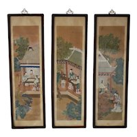 19th Cent Chinese Watercolor Vertical Framed Rosewood Panels Pagodas Courtesan 4 ft Tall