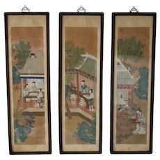 19th Cent Chinese Watercolor Vertical Framed Rosewood Panels Pagodas Courtesan Ladies Over 4 Feet Tall X3