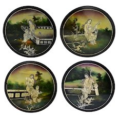Vintage Asian Black Lacquer Hand Painted Plaques Mother of Pearl Inlay Oriental Women Set of 4