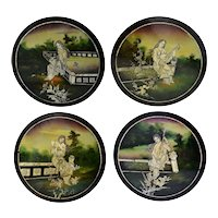 Vintage Asian Woman Black Lacquer Hand Painted Plaques Mother of Pearl Inlay X4