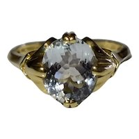 Vintage 14k Gold Aquamarine Oval Faceted Ring 1.5 Ct Sz 8