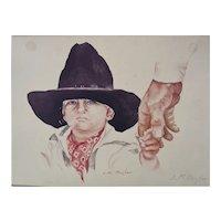 """Signed Watercolor Little Cowboy by Commander Lloyd M """"Pete"""" Bucher USS Pueblo Captured 1968"""