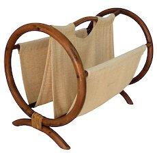 Boho Chic Natural Bamboo Rattan Magazine Rack Bent Circular Shape with Linen Fantastic