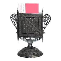 Victorian Silverplate Pedestal Match Holder James Tufts Ornate Batwing Style Use for Business Cards