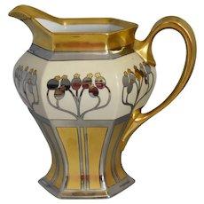 Authentic Art Nouveau French Limoges Pitcher Aura Argenta Linear Pickard B & Co.