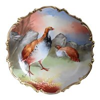 LRL French Limoges Hand Painted Red Grouse Hunting Game Plate Signed Antique