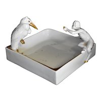 Antique Art Deco Fraureuth Porcelain Vanity Dish w Pelican and Greek God Pan Faun