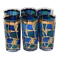 Mid Century Modern Georges Briard Europa Tumblers High Ball Bar Glasses X6