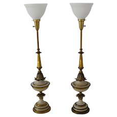 Ornate Stiffel Torchiere Table Lamps Buffet Lamps Great Gold Decor