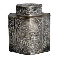 Antique German Silver Tea Caddy JD Schleissner Pseudo Hanau Silver Exquisite Scenic Repousse