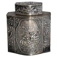 Antique German Silver Tea Caddy JD Schleissner Pseudo Hanau Silver Exquisite Scenic Repousse