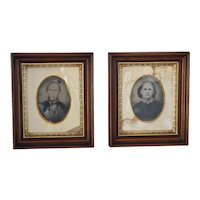 Antique Victorian Deep Walnut Frames w Large Tin-Type Photos