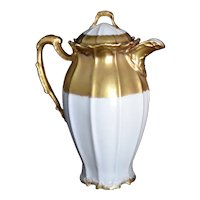 Antique Limoges Gold Cream Chocolate Pot Coiffe & Laviolette