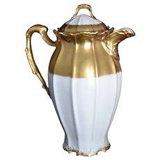 Antique Limoges Gold Cream Chocolate Pot Coiffe & Laviolette