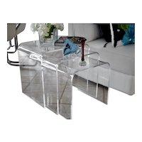 Mid Century Style Haziza Lucite Acrylic Stacking Nesting End Tables Designer Signed