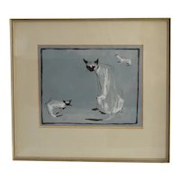 MCM Siamese Cats Watercolor Painting Signed Phyllis Soreghan Exceptional Artwork
