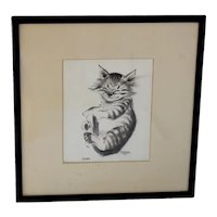 "Happy Cat ""Pootie"" Drawing Thelma Frazier Signed Framed Cowan Pottery Artist c1920-30"