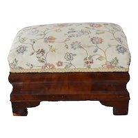 Empire Mahogany Veneer Footstool Ottoman Reupholstered Floral Brocade