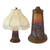 Art Nouveau Handel Era Reverse Painted Glass Scenic Panel Lamp Arts and Crafts Needs Rewiring