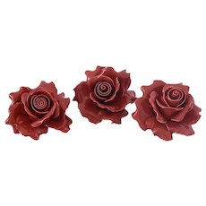 Vintage Porcelain Red Roses X3 Larger Size Shelf Table Decor Wedding Decor ROMANTIC