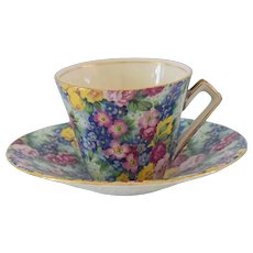 Royal Winton Grimwades Julia Chintz Cup and Saucer, Bone China Chintz Teacup and Saucer French Country Charm