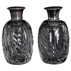 Pair Antique Cut Crystal Large Perfume Scent Bottles Ground Stoppers Alpaca Silver Plate Caps
