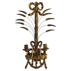 Vintage Italian Florentine Wood Carved Gilt Wall Sconce Candle Holder with Tole,  French Country Regency Rococo Decor