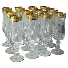 Vintage Gold Etched Champagne Flutes Stemware Set of 12, Elegant Holiday Table, Gold Decor