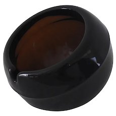Viking Art Glass Orb Ashtray Chestnut Brown Individual Size Rare Color