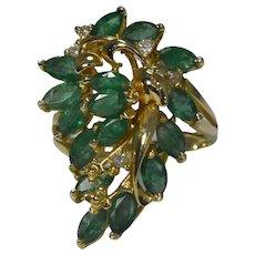 14k Gold Emerald Diamond Paisley Setting Cocktail Ring 1.82 ctw IMPRESSIVE