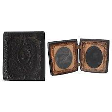 Antique Union Case Double Plate Daguerreotypes of Victorian Children