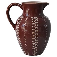 19th Century Earthenware Redware Decorated Pitcher Jug Great Farmhouse Americana Country Decor