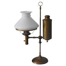 Brass Antique Student Kerosene Lamp Electric Converted Needs Rewiring