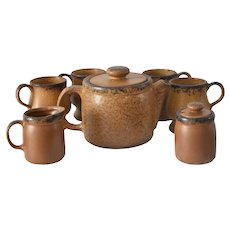 Vintage Mccoy Mesa Canyon Teapot Tea Set Mugs Creamer Sugar Southwestern Spanish Hacienda Natural Decor