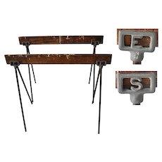 Industrial Farmhouse Table or Desk Base w Antique Sawhorses Initials SE ES