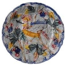 Antique Majolica Bird of Paradise Palm Tree Cherries Plate Mouzin-Lecat Belgium, Superb Coastal West Indies Decor