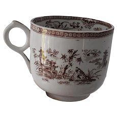 Antique English Ironstone Breakfast Cup Chinoiserie Brown Transferware Pattern c1860