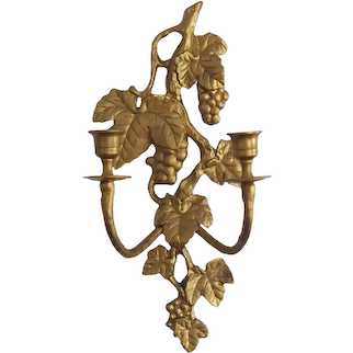 Gilt Gold Iron Grape and Vine 2 Arm Candle Wall Sconce Regency or French Country Decors c1960