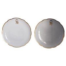 Pair MZ Austria Initial S Gold Trim Hand Decorated Porcelain Plates, Monogram S Altrohlau Plates, Gold Decor Porcelain Plates Initial S