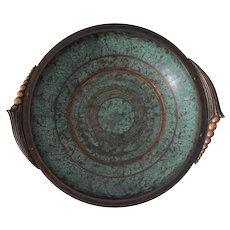 "Art Deco Bronze Applied Verdigris Carl Sorensen Signed Bowl No 1238 Large 13.25"""