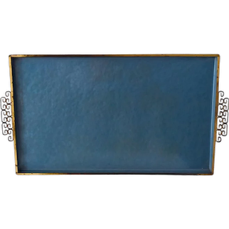 Mid Century Kyes of Pasadena Turquoise Gold Moire' Glaze Lacquered Tray, Large Vintage Turquoise Gold Enamel Barware or Vanity Tray